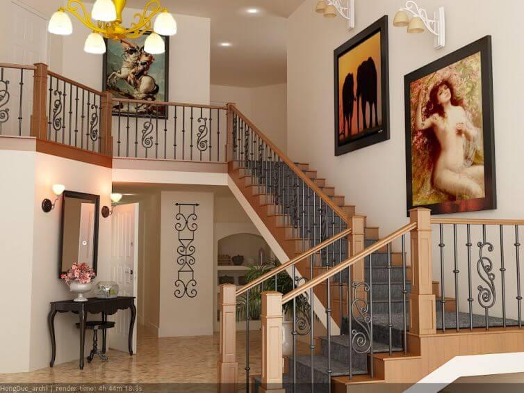 cầu thang sắt phòng khách đẹp, hợp phong thủy