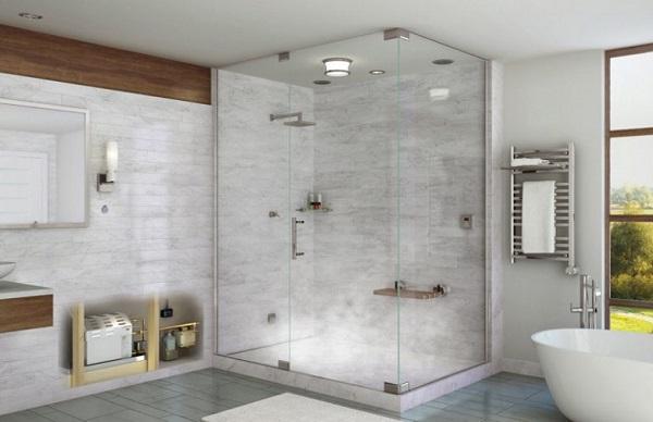 Vách kính nhà tắm 90 độ